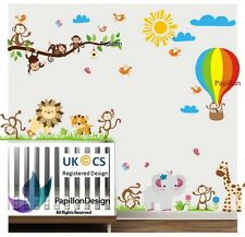 Jungle animal Zoo Monkey Flower Nursery Baby Boy Removable Wall Stickers decal