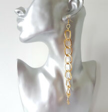 Gorgeous 15cm long gold tone patterned chunky alloy chain drop - dangly earrings