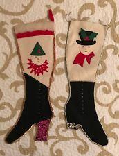 "New listing Vintage Pair 18 .5"" Handmade Detailed Christmas Stockings Felt Sequins"