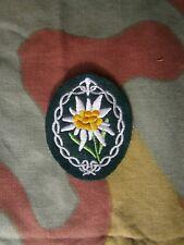 Edelweiss da braccio ricamata panno verde scuro Gebirgsjager, WW2 arm insignia