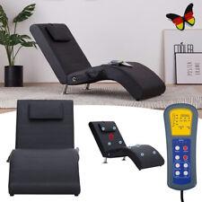 Chaiselongue mit Massage Liegesessel Relaxliege Kunstleder Lounge Schwarz