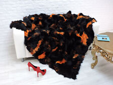 "LUXURY REAL FOX FUR THROW BLANKET  BLACK/ORANGE  DYED  86"" x 78"",  #i098"