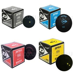 Dunlop Squash Balls Yellow Dot Red Blue Dot Double Yellow Pro Competition