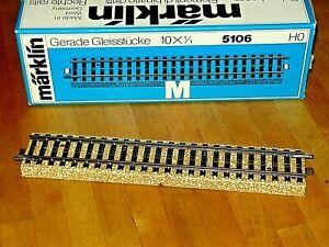 Märklin M-Gleis  10x 5106 gerades Gleis 180 mm lang topsauber im Originalkarton