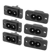 Black 2 Pin IEC320 C8 Screw Mount Inlet Plug Socket AC 250V 2.5A 6 Pcs Q7L8