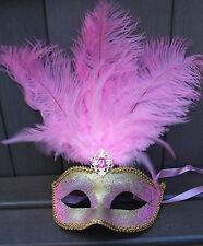 Pallida e Rosa E Oro Piuma Maschera Veneziana Ballo In Maschera Carnevale Party occhi maschera