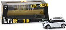 "2003 MINI COOPER WHITE BLACK BONNET STRIPES ""THE ITALIAN JOB""1/43 GREENLIGHT NEW"