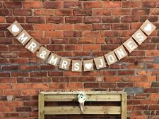 MR & AND MRS PERSONALISED Hessian Wedding Bunting Banner Hanging Decoration