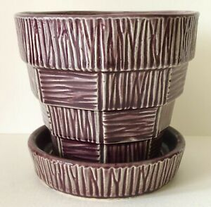 "Vintage McCoy POTTERY Purple Basket Weave Flower Pot Planter Attached Saucer 4"""
