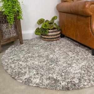 Modern Grey Shaggy Rug Silver Circle Round Dining Room Rug Cosy Bedroom Mats