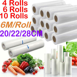 6/12 X Vacuum Food Sealer Seal Bags 6M Rolls Saver Storage Commercial 20 22 28cm