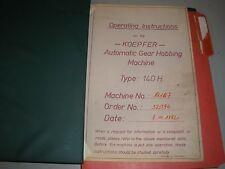 Jos, Koepfer & Sohne Gear Hobbing Instruction Manual