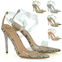 Womens Ankle Strap Sandals Perspex Ladies Clear High Heel Evening Party Shoes