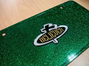 Christian 3D Believer Cross Auto License Plate GREEN GLITTER + FREE Wristband