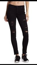NWT Genetic Denim Shya Distressed Black Super Skinny Jeans Prague Black Sz 25
