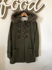Element Surf Ladies Green Wool Blend Duffle Coat Jacket Size Small 8-10