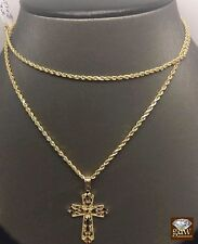 "10k Yellow Gold Rope Chain 24"" Rope Chain,2mm & Diamond Cuts Cross 1.3 "" Charm"