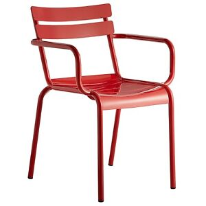Red Aluminum Garden Patio Stackable Dining Armchair For Outdoor Use