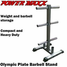POWER MAXX Olympic Weight Plate Stand Tree Rack Storage Barbell Holder Fitness