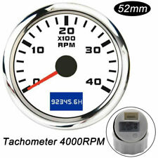 52mm Boat Marine Tachometer Diesel Engine Tacho Gauge 4000 Rpm With Hourmeter