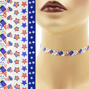 """Patriotic Choker 3/8"""" custom necklace Independence Day 4th of July America USA"""