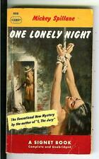ONE LONELY NIGHT by Mickey Spillane rare Signet #888 crime gga pulp vintage pb