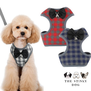 Dog Harness Adjustable Tartan Bow-Tie Leash Lead Small Cat Puppy Pet Cute Vest