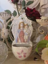 More details for a beautiful vtg.austrian ceramic holy water benitier font ~ madonna & child
