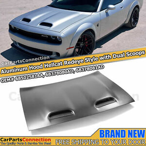 Aluminum Hellcat Redeye Style Hood Dual Scoop For Dodge Challenger 2008-2021