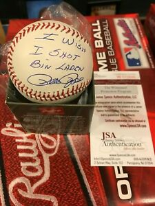 "PETE ROSE AUTOGRAPHED MLB BASEBALL REDS ""I WISH I W SHOT BIN LADEN"" JSA"
