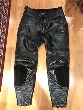 "Akito Mens Black Leather Motorcycle Jeans Size Euro 54 UK 36"""