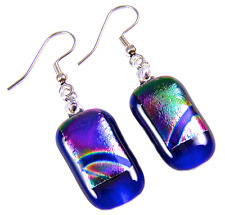 """Dichroic Glass Earrings Blue Rainbow Tie Dye Striped Dangle Surgical Wire - 1"""""""