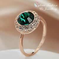 18K Rose Gold Plated Made With Swarovski Element Exquisite Emerald Halo Ring