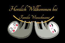 Willkommen Wunschname- Fußmatte - lustig - Faultier - komisch - Fussmatte