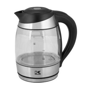 KALORIK Electric Kettle 7.5-Cup Black Stainless Steel Cordless Keep Warm Setting