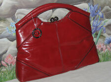 New CHINESE LAUNDRY Red Handbag Satchel Purse w Silver Kiss-Lock