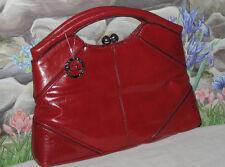 New CHINESE LAUNDRY Red Handbag Satchel Purse w Silver Kiss-Lock