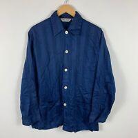 Derek Rose London Mens Pyjama Shirt Size Medium Blue Striped Long Sleeve