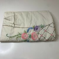 vintage tablecloth color white with embroidered floral print 64x84