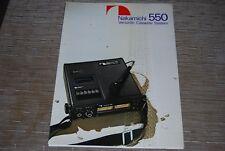 Nakamichi 550 Versatile Cassette Tape deck system Original Catalogue