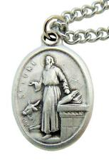 "St. Luke Patron Saint Metal 3/4"" Italy Medal w/ Chain Pendant Necklace"