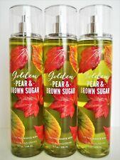 Bath Body Works GOLDEN PEAR BROWN SUGAR Fine Fragrance Mist, 8 oz, NEW x 3