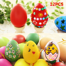 12pc Home Kid Favor Plastic Hanging Easter Egg Easter Decor DIY Painting Egg