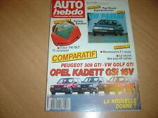 Auto hebdo N°617 309 GTi / Kadett GSi 16V / Golf GTi 16S.VW Passat GL