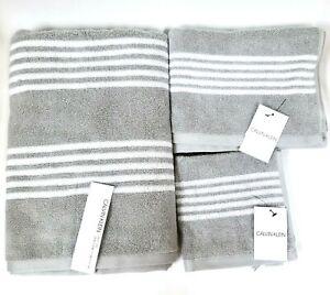 CALVIN KLEIN 3 PC SET GRAY,WHITE STRIPED OEKO COTTON BATH,HAND TOWEL,WASH CLOTH