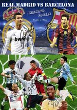 Lionel Messi Christiano Ronaldo Soccer Football Autograph Signed 2 x A4 Poster