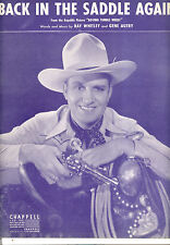 "Roving Tumble Weeds Sheet Music ""Back In The Saddle Again"" Gene Autry"