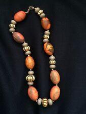 Vintage NAPIER Necklace Batik Orange & Gray Lucite Bead Asymmetrical Retro