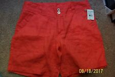 """Women's """"FRESH PRODUCE"""" Red Coral Linen Shorts - NWT - Size 10"""