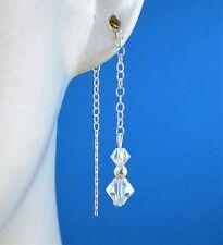 Sterling Silver 925  AB Swarovski Elements  Pull Through Drop Dangle Earrings